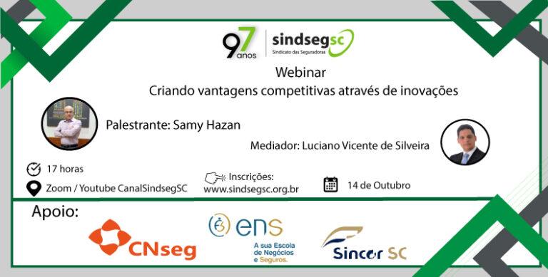SindsegSC promove webinar com Samy Hazan em 14 de outubro